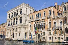 Vecchi palazzi veneziani sul Canal Grande al tramonto, Venezia
