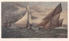 "Yachting on Sydney Harbour This is a reproduction, from a hand-coloured wood engraving originally published for the ""Picturesque Atlas of Australasia"" between 1886-1889 (and reissued in 1892). http://www.heritage-editions.com.au/p-250-sydney-harbour-yachting-on-sydney-harbour.aspx"