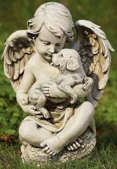 Cherub Angel with Puppy Garden Statue. Precious child angel sits cross legged and holds a cute little puppy in it's arms. This little cherub will make an ideal additon to your garden. Statue Ange, Outdoor Garden Statues, Angel Garden Statues, Little Cherubs, Ange Demon, Garden Angels, Cemetery Art, Cemetery Angels, Sculptures