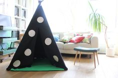 Teepee Tent  MIDI size  Black with Applique Spot by MoozleTeepee