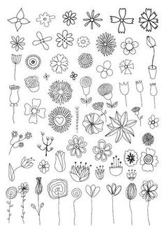 Set of floral doodles Related posts: 25 floral doodles for your Bullet Journal Floral doodle 🌿🌹. , , … Over 50 amazingly simple Bullet Journal Doodles … Doodle Art, Doodle Drawings, Doodle Images, Tangle Doodle, Simple Flower Drawing, Simple Flowers, Drawing Flowers, Tattoo Flowers, Easy Drawings Of Flowers