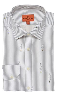 Simon Carter's light bulb stripe print shirt mixes formality and humour to great effect - some of the plain stripes turn into cables with light bulbs on the end Simon Carter, Fashion Terms, Perry Ellis, Collar Styles, Stripe Print, Shirt Men, Business Casual, Printed Shirts, Fabric Design