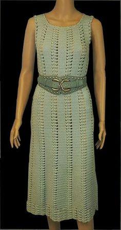 Vintage Hand Crochet Open Weave Sexy Boho Dress w/Big Chunky Belt, XS to Med