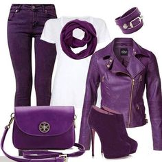 I love Purple, love this outfit except the heels on shoes better for me with flats Lila Outfits, Purple Outfits, Cool Outfits, Casual Outfits, Fashion Outfits, Fashion Tips, Fashion Bloggers, Modest Fashion, Purple Love