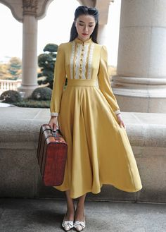 With lace decoration to add elegant bliss to this Victorian dream dress, this piece sports authentic sleeves and stand … Old Fashion Dresses, Modest Fashion, Fashion Outfits, Pretty Outfits, Pretty Dresses, Beautiful Dresses, Retro Mode, Mode Vintage, Rockabilly Dress