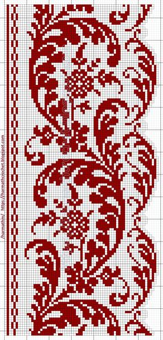 Cross Stitch Sampler Patterns, Cross Stitch Borders, Cross Stitch Samplers, Cross Stitch Flowers, Cross Stitch Designs, Cross Stitching, Filet Crochet Charts, Crochet Stitches, Crochet Patterns