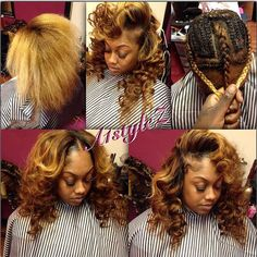 STYLIST FEATURE| Love this 3-part sew in #transformation done by #MiamiStylist @a1stylez❤️ Those curls and that color are on point #VoiceOfHair ========================= Go to VoiceOfHair.com ========================= Find hairstyles and hair tips! =========================