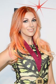 Bonnie McKee with beautiful pastell orange hair.