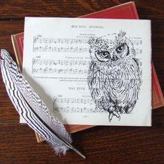 Scops Owl Sheet Music Print