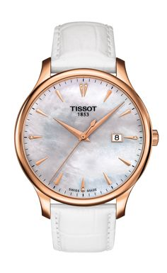 Tissot Tradition Lady Quartz The Tissot Tradition family gives watchmaking a hint of nostalgia with a vintage-style perfectly balanced with classical details and subtle finishes. These new ladies models have larger case sizes to reflect the change in women's tastes with their watches whilst still giving that feminine appeal.