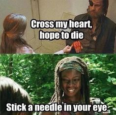 I didn't understand at first but then I read Michonne's line and I was like LOLLOLOLOL