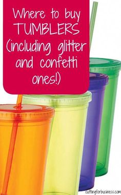 Where to buy tumblers for Silhouette Cameo and Cricut crafting - includes glitter and confetti tumbler retailers - by cuttingforbusiness.com #craftingtips