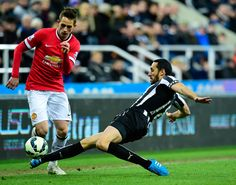 Adnan Januzaj skips past the challenge of Newcastle's Jonas Gutierrez during @manutd's 1-0 win over the Magpies on 4 March 2015.