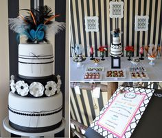 really love this one - the black and white, the splash of colour, the cake the parfait in glasses...