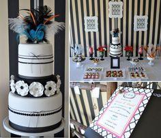 wedding  - black white guest dessert feature