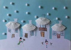 Snow art using pom-pom/cotton balls & cupcake liners. (This is in a foreign language) Winter Art Projects, Winter Project, Winter Crafts For Kids, Winter Kids, Diy For Kids, Winter Snow, Xmas Crafts, Diy And Crafts, Preschool Art