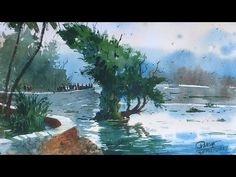 Powai Lake, Watercolor demonstration by Prashant Sarkar - Watercolour Tutorials, Watercolor Techniques, Painting Tutorials, Watercolor Paintings, Watercolors, Painting Lessons, Plein Air, Artsy Fartsy, Craft Projects