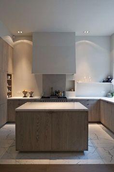 Marble floor, oak cabinet