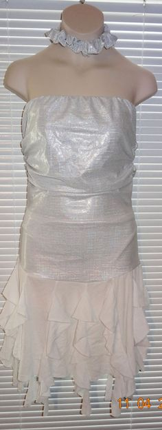 Starmaker Lyrical Ballet Dress Dance Costume White Silver Sz SA Small Adult KR #Starmaker