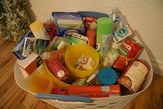 Cute graduation gift idea - fill a laundry basket with essentials (speghetti sauce, Tums, hand soap, deoderant, dishwashing soap, cleaning supplies, toothpaste, lip gloss, peanut butter, cereal, dental floss, medicine, bath wash, etc). All stuff you need at college. Idea from Stephanie Jones.