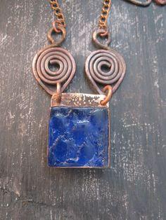 Copper Blue Necklace  by Mary Bulanova