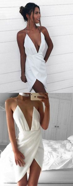 Hot Sexy Asymmetrical Deep V-Neck White Short Homecoming Dress with Backless,YY228