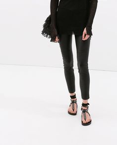 LEATHER SKINNY TROUSERS from Zara