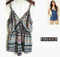 fashionlicious fashion shop online : Forever21 Tribal Surplice Romper