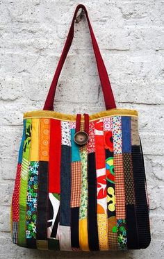 Beautiful scrappy patchwork stash buster tote bag - inspiration :)