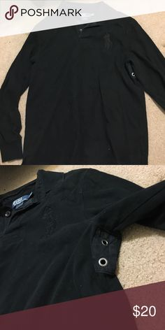 long sleeve black polo thick black polo with large logo, also has breather holes under the arm. size large Polo by Ralph Lauren Shirts Polos