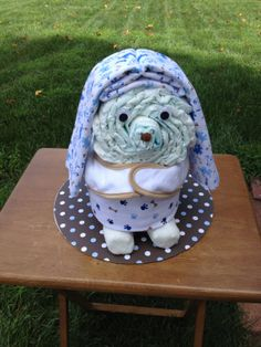 Unique Boy Puppy Dog Diaper Cake - This Diaper Cake would make a fantastic Baby Shower Gift is OOAK - Diapers, Blankets, Socks, Diapers