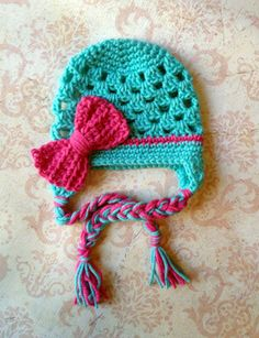 The Sofia Big Bow Beanie in Teal and Hot by mamamegsyarnshoppe, $18.00