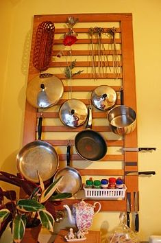 Wall-mounted pot rack. I've been wanting one for a while, now to go get the crib side from the attic.
