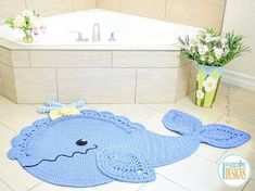 Crochet Pattern PDF for making a beautiful Whale Animal Rug or Nursery Mat with Lace Fins Double Crochet, Single Crochet, Crochet Baby, Crotchet, Crochet Rug Patterns, Quilt Patterns, Crochet Rugs, Animal Rug, Crochet Carpet