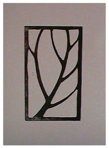 Fliss Watts, 2004  linocut: tree or leaf