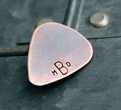 Monogrammed Copper Guitar Pick - great wedding / anniversary / best man gift