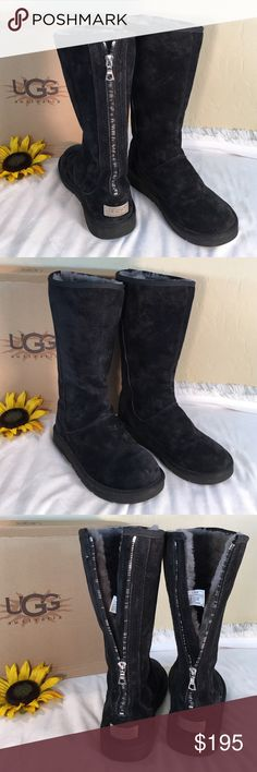 """UGG Like New Black Suede Tall Designer Boots UGG Cool & Chic Black Suede Tall Designer Boots with exposed silver & pewter zipper detail and silver logo plate.  Gorgeous Gray Shearling.  13"""" UGG Shoes Winter & Rain Boots"""
