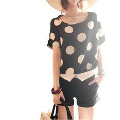 UZZO Women's Print Short Sleeve Top T-shirt Blouse (Tag S(US 2-4),Black with Dot) Ninimour http://www.amazon.com/dp/B00MXMZ53U/ref=cm_sw_r_pi_dp_CSGkub1GCA3G7