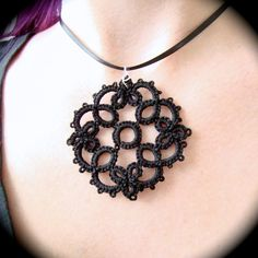 Tatted Lace Pendant  Garden Portal by TotusMel on Etsy, $12.00
