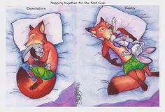 Naps by Winter-Falls.deviantart.com on @DeviantArt Judy and Nick take a nap together for the first time. Nick has been secretly dreaming of this moment for ever! And now that it's finally happening... Well, anyone whose dated a cute lil' bab knows that though we may be small, we take up lots of space. ;) Also, its been years since I last posted anything. Or did anything. So, here's some #WildeHopps for ya because these two are LIFE. Love #Zootopia #nickwilde #zootopia_disney