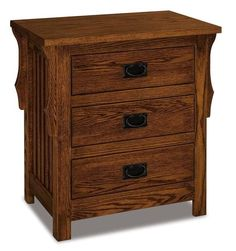 Amish Stick Mission Large Three Drawer Nightstand Shopping Amish furniture brings beauty and quality home to you! This nightstand offers a generous amount of storage, and it is customizable. Choose wood, stain and hardware. #nightstand