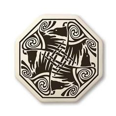 Celtic Raven Pendant | Handcrafted Porcelain Octagon Nehalennia Crow Necklace