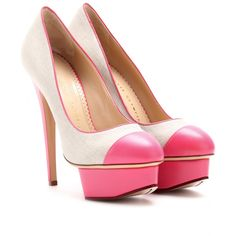 charlotte olympia 'monacoco' heels in linen with pink leather accents #shoeporn