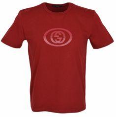 New Gucci Men's 295979 RED Jersey Cotton Interlocking GG SLIM FIT T Shirt XL #Gucci #GraphicTee