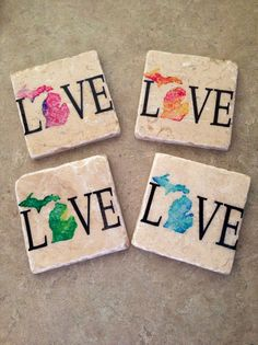 Set of 4 Tumbled Tile Michigan love Coasters by TheRavagedBarn