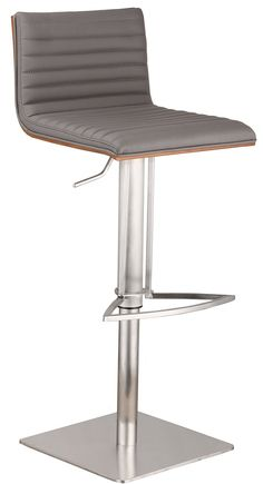 Armen Living LCCASWBAGRB201 Caf Adjustable Brushed Stainless Steel Barstool in Gray Pu with Walnut Back