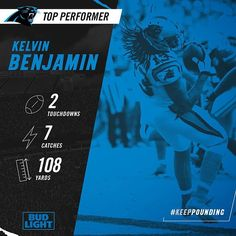 Two touchdowns and a whole lot more! @kb13zone is our @BudLight Top Performer for #SFvsCAR! #KeepPounding