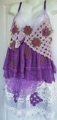 Upcycled dyed slip doily lace dress.  Purple never looked so good.