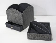 """Boîte avec tiroir + plateau amovible réalisé par Sylviane avec le papier PAPERTREE """"MINIATURE"""" Gris smoking (réf PT50737)"""
