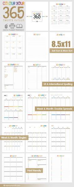 FREE Digital Planner Printables | Colour Your 365 and get organised and connect with your goals and projects. Join our community and receive these and a bundle of creative products.